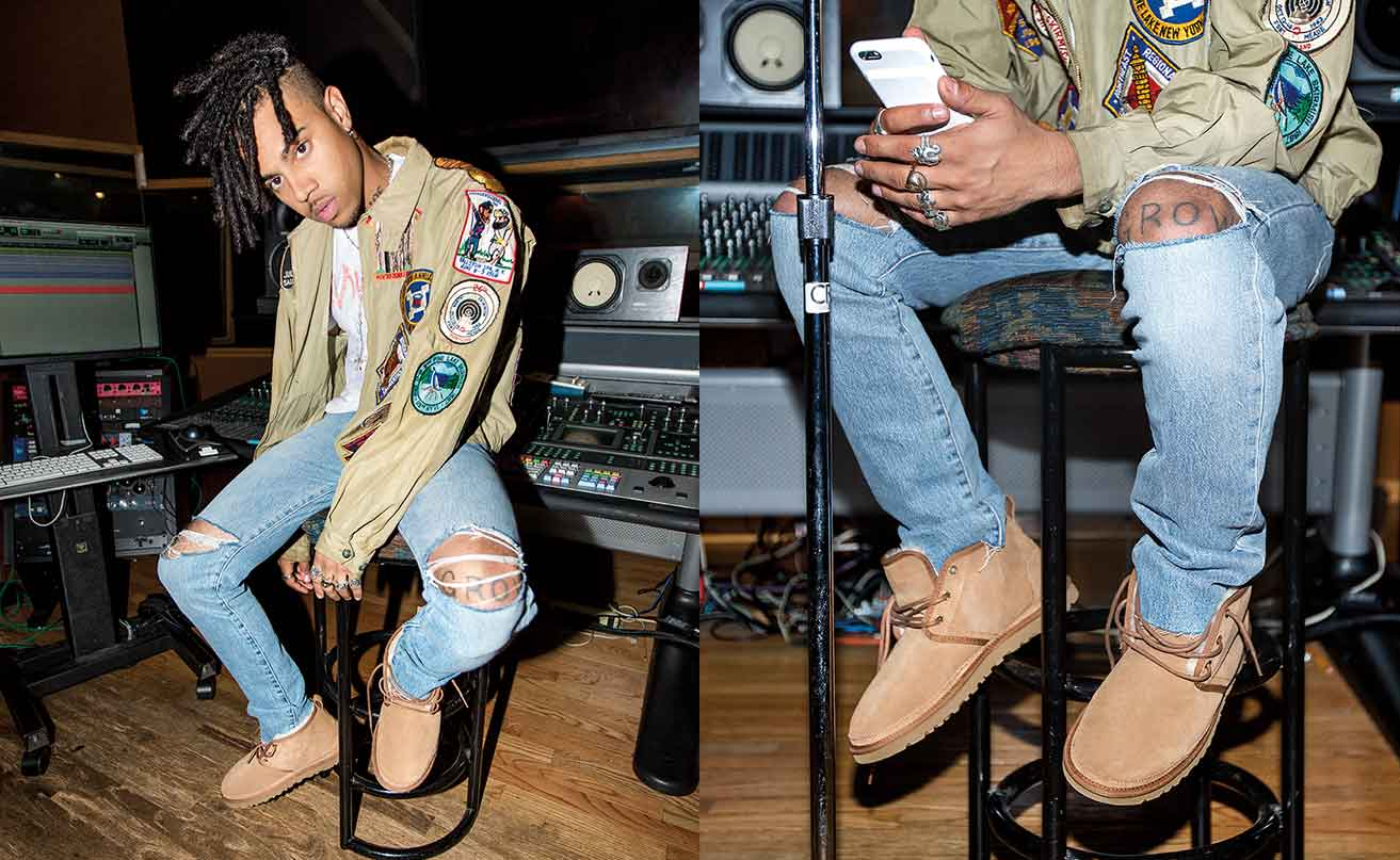 Vic Mensa in the recording studio room, wering the Neumel boots.